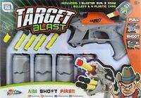 TIN CAN TARGET BLAST SHOOTING GAME - GUN & FOAM DARTS SHOOT EM' UP TOY R01-0080