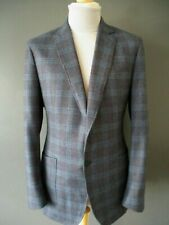 BNWOTS £449 RICHARD JAMES 2019 BLAZER (44/42) BLUE CHECK BRUSHED-WOOL S/BREASTED