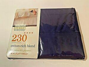 Martha Stewart Dark Blue Twin Flat Sheet 230 Count Cotton Blend