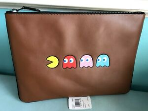 Coach Large Pouch With Pac-Man Motif Refined Calf Leather
