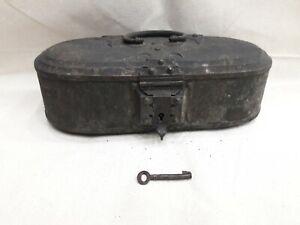 Antique Vintage Old Brass -Bronze Trinket Box With Original Key 200+ years old