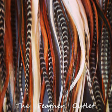"Lot 100 Grizzly Feathers Hair Extensions Thick Striped 8-10"" Long BROWNS Fluff"