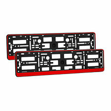 2 x Universal Number Plate Holders Surrounds Frames Any Car - Red Effect