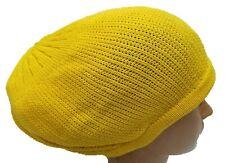Yellow Beret Tam Hat Rasta Slouch Beanie Crochet Cap Dreadlocks Dreads Hair M/L