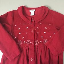 My Twinn Red Corduroy Dress Embroidered Details Girls Sz Small 6-7-8
