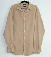 Country Road Mens Button Up Shirt Size XL Slim Fit Brown Check Long Sleeve