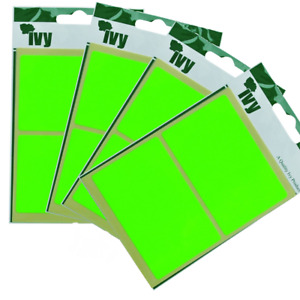 Sticky Fluorescent Yellow Self Adhesive Rectangular Labels 50mm x 80mm PACK OF 2