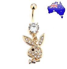 14kt Gold Plated Crystal Playboy Bunny Dangle Belly Button Ring Sexy Women Gift