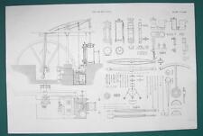 STEAM ENGINE 25 inch Cylinder 5 Strokes & Details - c. 1835 Fine Quality Print