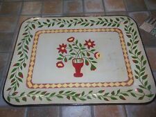 Vtg Metal Toleware Hand Rolled Tray Metal  Hand Painted Folk Art Signed