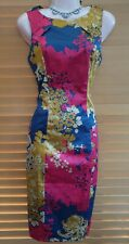 Navy Red Gold Satin Pencil Wiggle Galaxy Cocktail Evening Party Dress Size 8