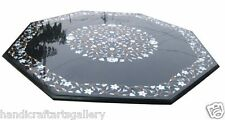 """54"""" Black Marble Granite Dining Table Top Collectible Inlaid Home Decor Art"""