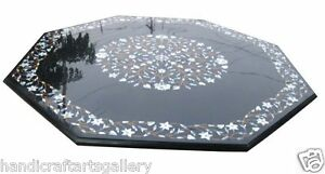 """54"""" Black Marble Dining Table Top MOP Floral Inlay Art Handmade Garden Decorates"""