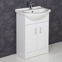 550mm Bathroom Vanity Unit & Basin Sink Floorstanding Gloss White Tap and Waste
