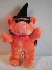 "Orange Plush Bear w/ Black Hat and Cape Stuffed Animal Halloween 12"" Tall"