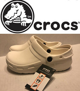 New Crocs Clogs Shoes Specialist II Mens 4 Womens 6 Slip On White Strap Work 👀