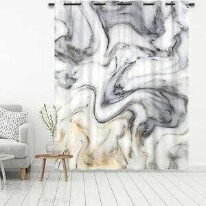 Marbled Print Blackout Door Window Curtains Thermal Insulated Panels Drapes