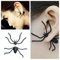 1x New Fashion Womens Halloween Black Spider Charm Ear Stud Earrings Jewelry