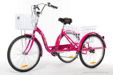 "Trike Bike Adult Tricycle 24"" Aluminium 3 Wheels 6 Speed Baskets Bright PINK"