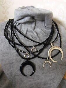 MOON NECKLACE pagan boho ethnic biker black beaded bib silver