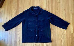 Men's VNTG Polo Ralph Lauren XL Military Blue Wool Multi Pocket Hunting Coat