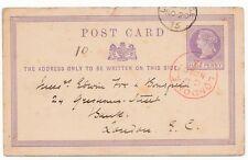 * 1875 Cds cancelación de Londres Rojo 1/2 D Casa de tarjeta postal Stat alquilar 2 Guineas una semana