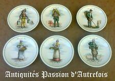 """B2018126 - 6 petites assiettes """" Métiers du vieux Paris """" en porcelaine"""