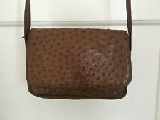 Vintage Genuine Ostrich Leather Cross Body Bag Brown Quality