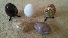 "5 large 3"" marble onyx eggs egg collector set on with stand collection mineral"