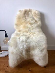 Large Genuine Merino Sheepskin Sheep Rug Ivory Cream Champagne Beige Real Fur.