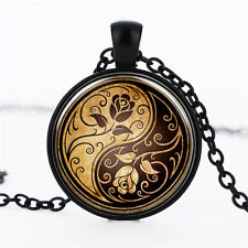 Wholesale Cabochon Glass Black  Chain Pendant Necklace,Tai chi Yin and Yang rose