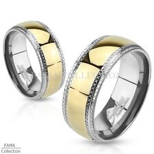 FAMA Stainless Steel with Etched Edges and Gold IP Center Band Ring Size 5-14