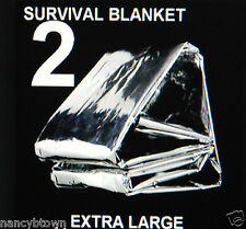 2 XL Emergency BLANKETS Back Pack Camping Hunting Survival Reflect Window Heat