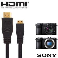 Sony Nex 5N, 5RY, 5RL, 6Y y 7K Cámara HDMI Mini Monitor de TV 2.5m Cable de Alambre de plomo