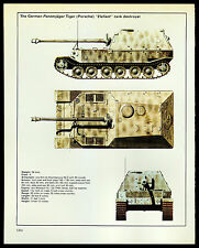 "VINTAGE 1978 ""ELEFANT"" GERMAN PANZERJAGER TANK DESTROYER WORLD WAR II SPEC-SHEET"
