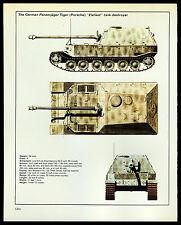 "VINTAGE 1978 ""ELEFANT"" GERMAN PANZERJAGER TANK DESTROYER WORLD WAR II SPEC-SHEET"