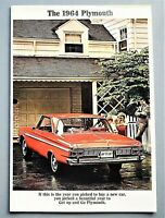 """ORIGINAL 1964 PLYMOUTH FULL LINE SALES BROCHURE ~ 20 PAGES ~ 9"""" X 13"""" ~ 64PLY"""