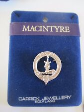 MacIntyre Coat of Arms Pin Round Stone Silver Tone