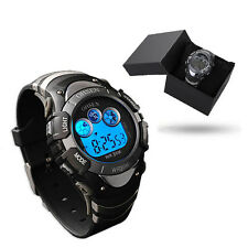 OHSEN Mens Teen 7 Modes Lights Black Case Date Stop Digit Quartz Wrist Watch New