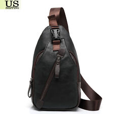 Men's Leather Chest Sling Packs Shoulder Cross Body Bag Cycle Day Packs Satchel