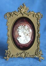 Antique Signed BACCHANTE Grapes Shell Cameo In French Bronze Dore Picture Frame