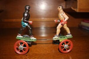 Antique Early Tin Litho Toy Wind Up EINFALT TECHNOFIX THE BOXERS
