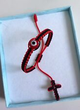 Baby R & B String Bracelet, Red evil eye,good luck charm With Cross Woven End.