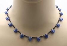 Cyanit Collier in Tropfenform mit Saphir und Perlen 44,5 cm lang