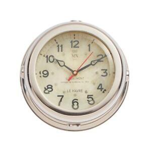 Military Wall Clock - French WWII Submarine - Nickel - Beveled Glass - Nautical