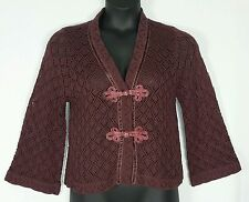 STORYBOOK KNITS BURGUNDY CROCHET SWEATER CARDIGAN SHRUG SZ SMALL - NWT