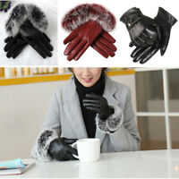 Women Winter Warm Rabbit Fur Soft Leather Screen Touch Windproof Mittens Glove