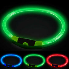 USB Rechargeable LED Dog Pet Collar Adjustable Flashing Light up Night Safety