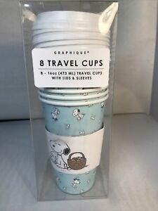 Snoopy Easter Peanuts GRAPHIQUE Travel Cups Lids Sleeves 8 16 oz Bunny Rabbit