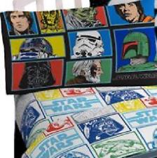 Star Wars Classic 3-pc white grid Twin Sheets set Vader Luke Yoda Boba Fett Bnip